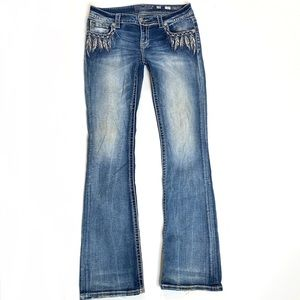 Miss Me feather pocket Boot jeans sz 29
